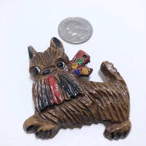 Early resin rhinestone dog brooch pin